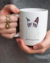 jewels,grumpy cat,cats,cup,mug,cute,bag,grumphy cat,mornings,good,not,monday,white,gold ring