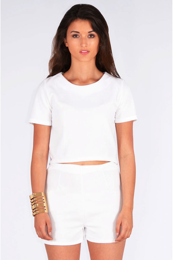 Ladies Ivonne Crepe Boxy Top & Short Two Piece Set In White at Pop Couture UK