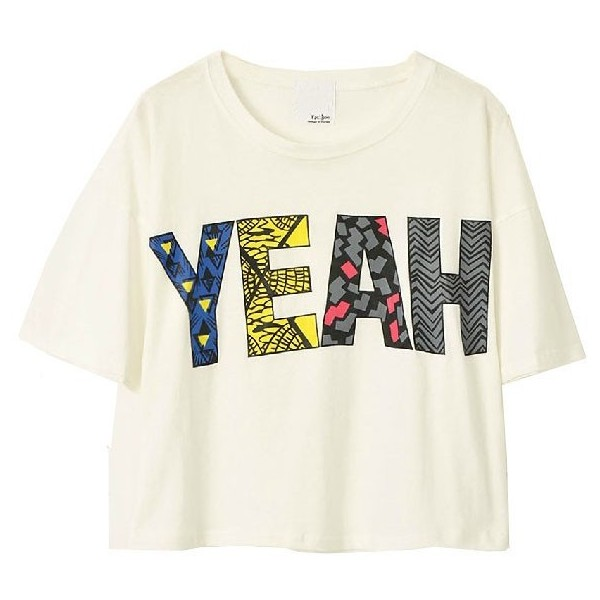 White Crop Top with 'YEAH' Print - Polyvore