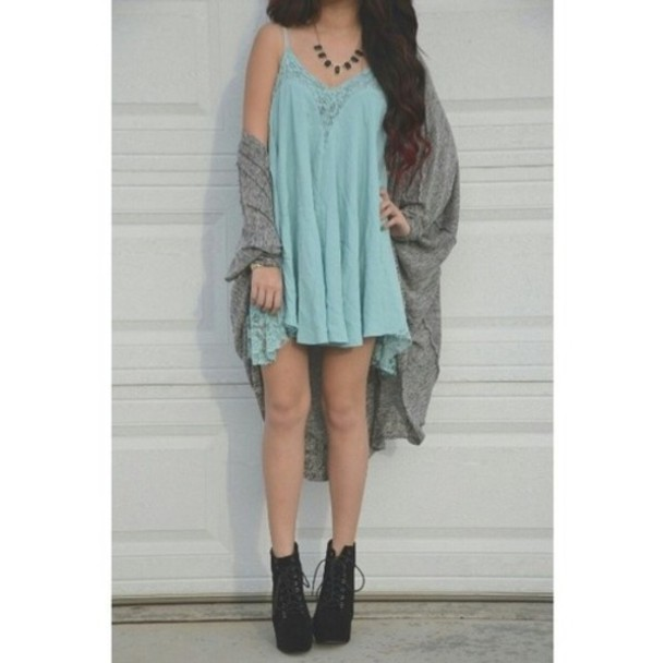 Dress: baby blue, lace, grey, blue dress, grey cardigan, black ...