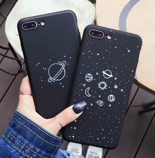 BLACK PLANETS GALAXY IPHONE COVER