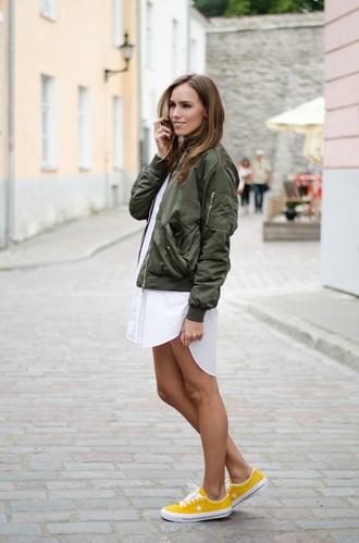 jacket white dress green bomber jacket yellow sneakers blogger