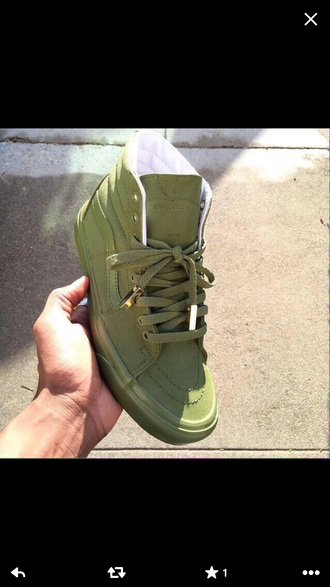 shoes vans custom olive green gold
