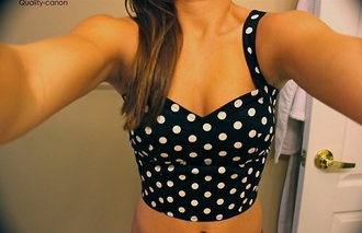 top bustier crop tops crop top bustier crop black crop top polka dots black and white summer top