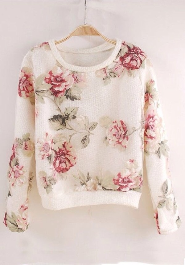 sweater floral cute flowers followme!! clothes shirt long sleeves long sleeve roses white red pink rose tumblr spring outfit fashion floral sweater flowers weather forever 21 bershka zara white floral flowered