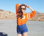 shorts,orange,t-shirt,shirt,band t-shirt,denim,denim shorts,jeans,fashion,glasses,sunglasses