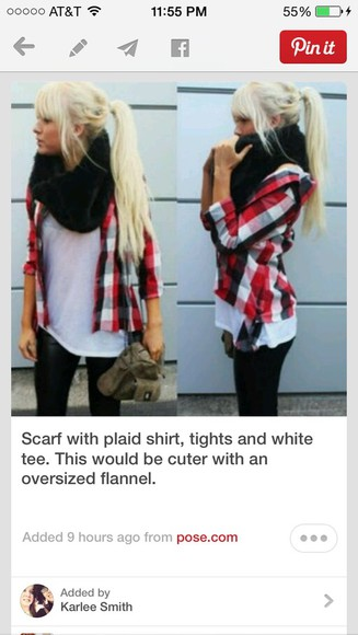 scarf black scarf shirt pants jacket red flannel flannel plaid shirt white shirt