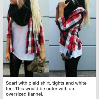scarf jacket shirt pants flannel flannel shirt red flannel white shirt black scarf scarf red