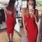Cut out lace up midi bandage dress red