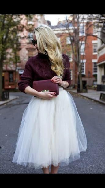 skirt,cream skirt,tulle skirt