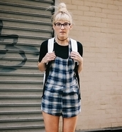 romper,stylemoi,dungaree playsuit in tartan check print,fashion,plaid