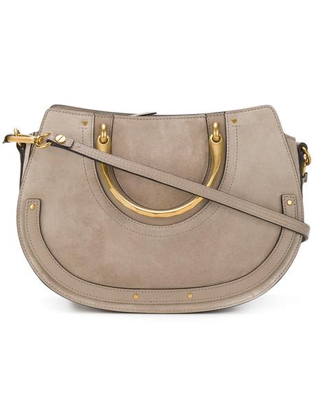 Chloe women bag shoulder bag leather grey