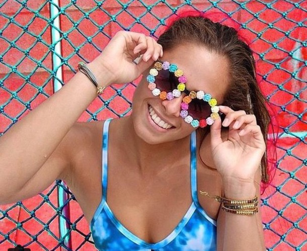 sunglasses flowers summer girly colorful cute roses fashion hipster gloves