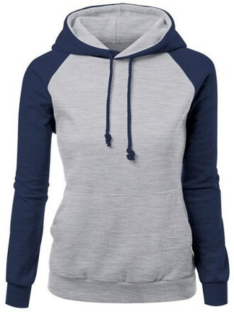sweater grye navy sporty pullover jumper trendy hit color drawstring hooded raglan pullover hoodie for women fashion style cool sportswear