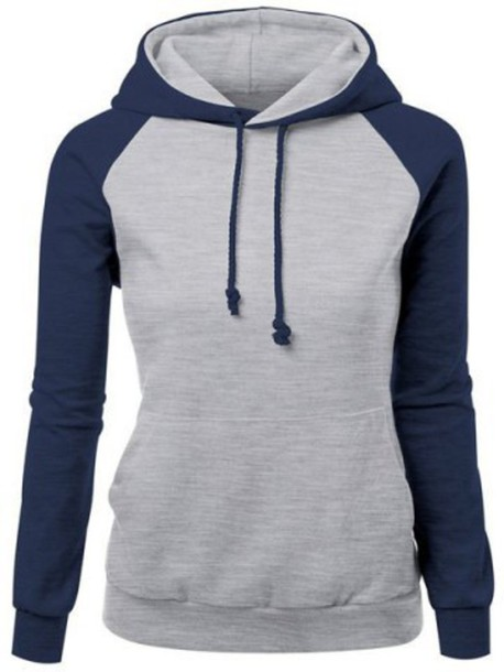 Sweater: grye, navy, sporty, pullover, jumper, trendy hit color ...