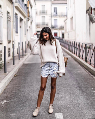 sweater white sweater tumblr knit knitwear knitted sweater skirt mini skirt denim denim skirt ankle boots boots