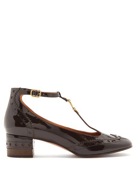 Chloe pumps leather dark brown shoes