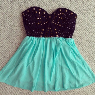 dress studded dress mint studs