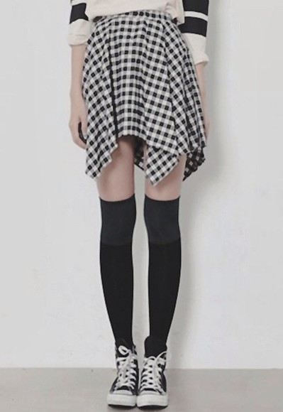 asymmetrical skirt asymmetrical skirt gingham black and white girly punk