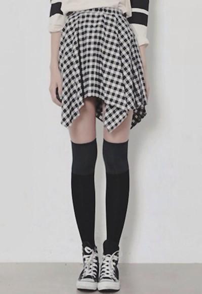 asymmetrical skirt asymmetrical skirt gingham black and white girly punk