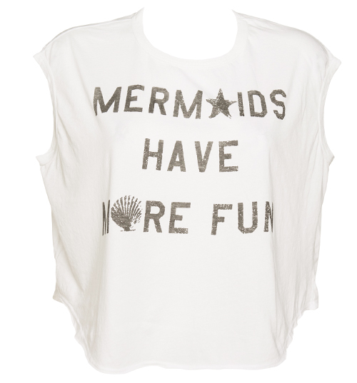 Ladies White Mermaids Have More Fun Cropped T-Shirt From Junk Food : TruffleShuffle.com