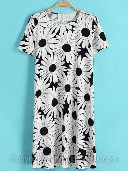 White Round Neck Short Sleeve Floral Print Dress - HandpickLook.com