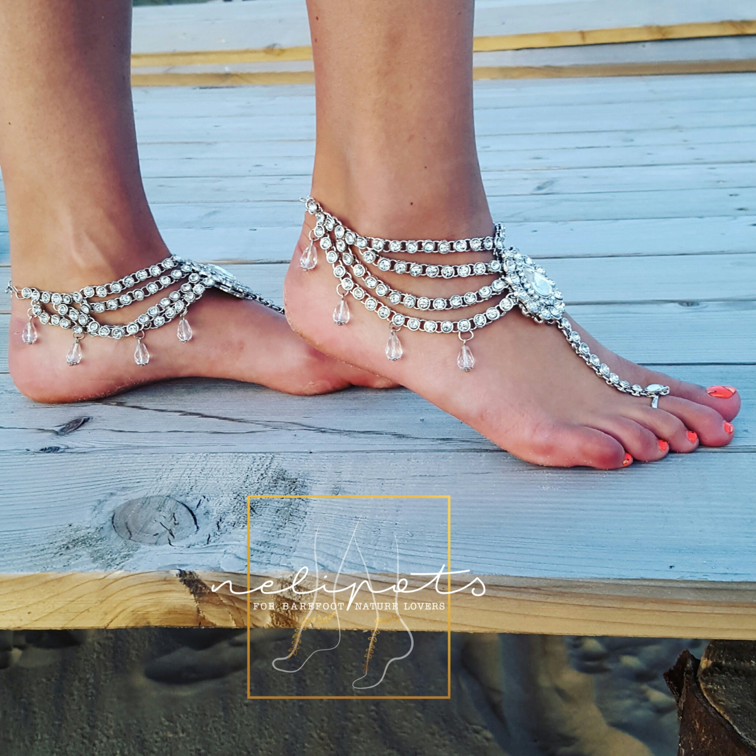 wedding slave anklet of sandals barefoot jewelry pretty beach