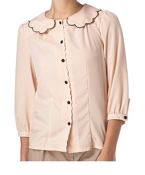 Scalloped peter pan blouse