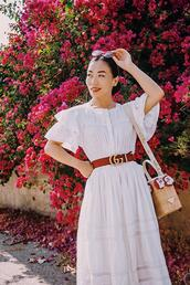 hallie daily,blogger,dress,belt,bag,shoes,sunglasses