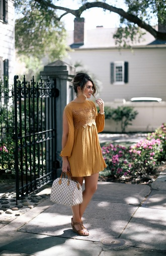 life & messy hair blogger dress shoes bag sunglasses louis vuitton bag spring outfits sandals orange dress