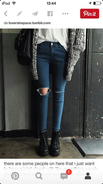 jeans blue skinny jeans grunge cardigan shoes chelsea boots t-shirt white t-shirt