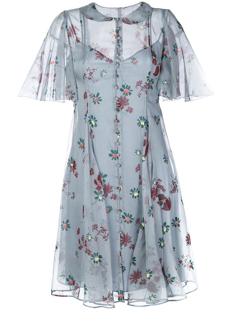 Valentino dress fall dress women flowers blue silk