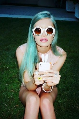 sunglasses wildfox hair fab bel air white sunnies pastel hair green hair