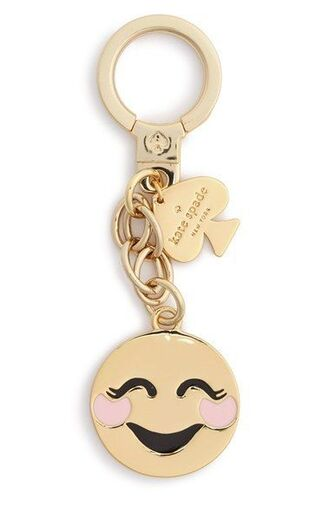 bag bag charm charm emoji print gold keychain smiley bag accessoires