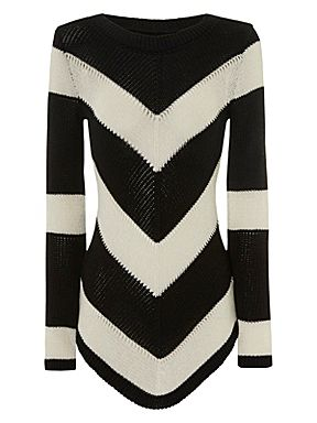 Jane Norman Chevron dipped hem jumper Black - House of Fraser