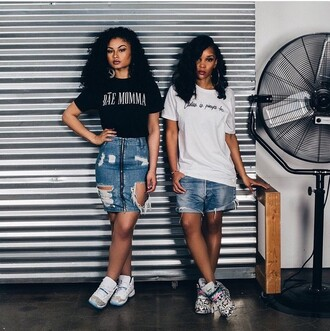 skirt india love ripped jeans casual t-shirt light blue jeans denim skirt ripped black girls killin it urban dope shoes india westbrooks low top sneakers black t-shirt white t-shirt