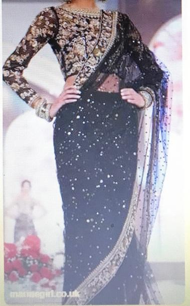 dress black and gold sari