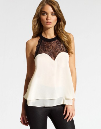 Lipsy Lace Trim Swing Top - Lipsy