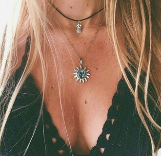 jewels necklace choker necklace black pineapple colorful pretty summer aesthetic sun black choker grunge jewelry boho