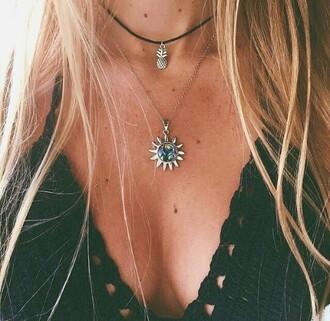 jewels necklace choker necklace black pineapple colorful pretty summer aesthetic sun black choker grunge jewelry boho