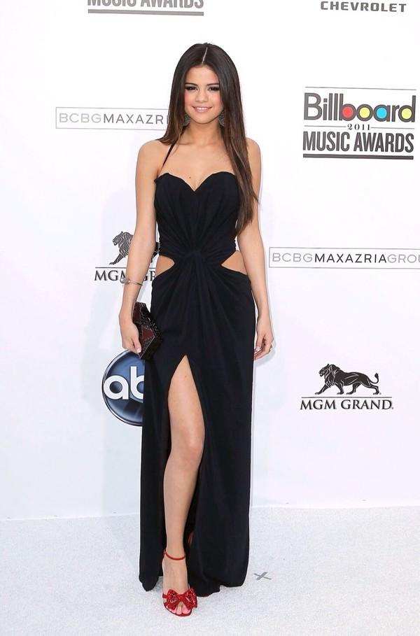 dress black long dress cut offs cute selena gomez black dress
