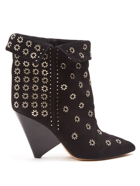 Isabel Marant suede ankle boots embellished ankle boots suede black shoes