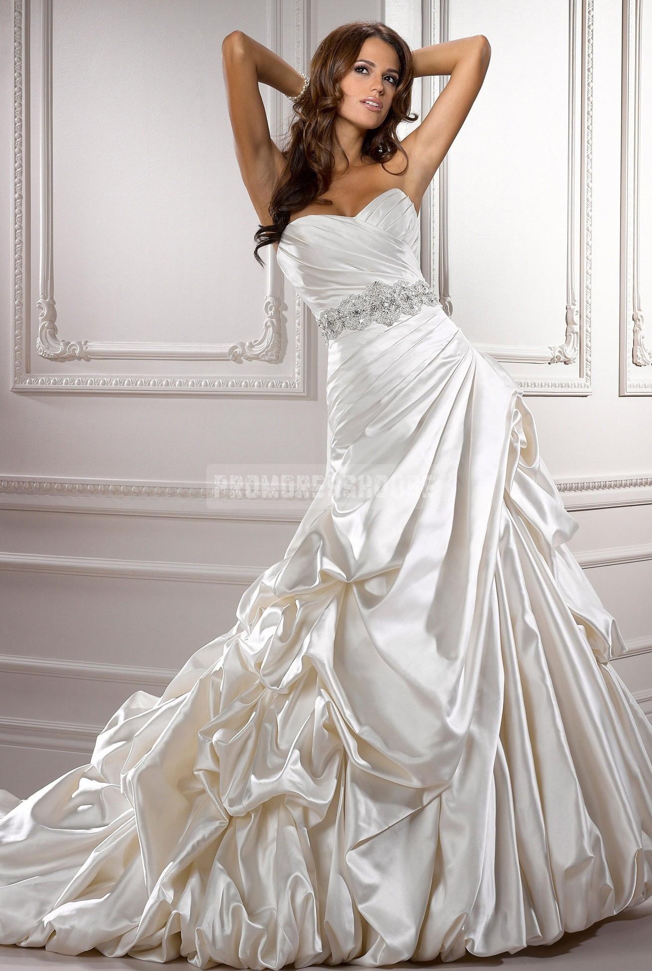 Sweetheart asymmetric waist chic cathedral train satin wedding dress