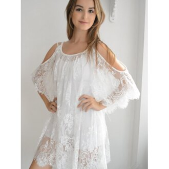dress rose wholesale lace dress cute dress girly boho dress chic style lace white summer fashion