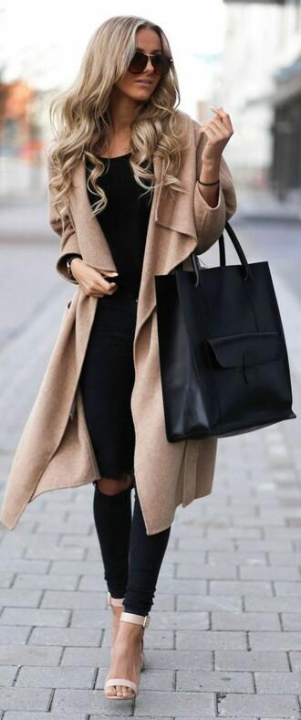 coat laine beige caramel oversized