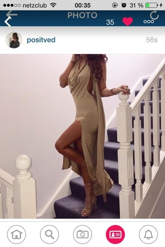 dress maxi dress rose pretty prom dress outfit nice nude starry night tumblr outfit tumblr
