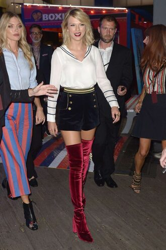 shoes boots over the knee boots taylor swift ny fashion week 2016 shorts sweater top blouse velvet boots burgundy velvet over the knee boots