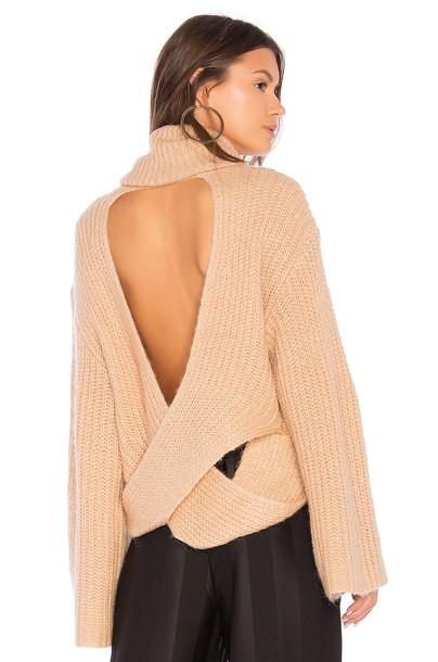 KENDALL + KYLIE sweater turtleneck turtleneck sweater cross back tan