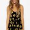 Black sunflower print romper