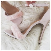shoes,blush pink,fur heels,high heel sandals,socks,pink,pink heels,nude,blush,nude heels,single strap heels